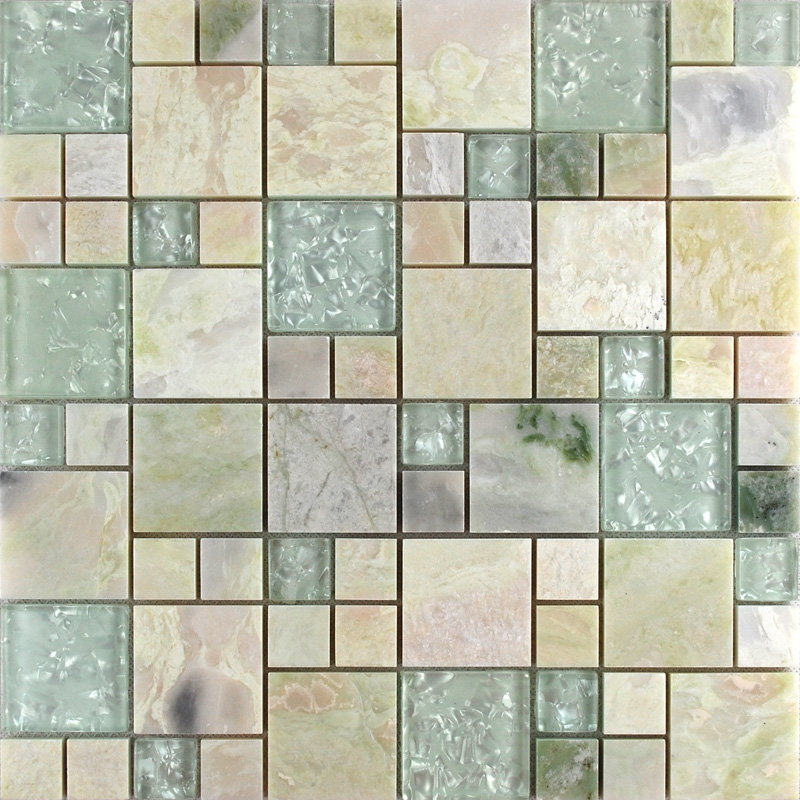 front side of the stone glass blend mosaic tile