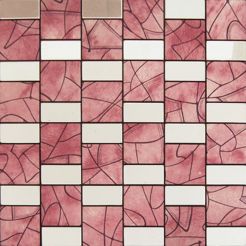 Peel And Stick Tile Red Aluminum Metal Wall Tile Adhsive Mosaic Kitchen  Backsplash MH642
