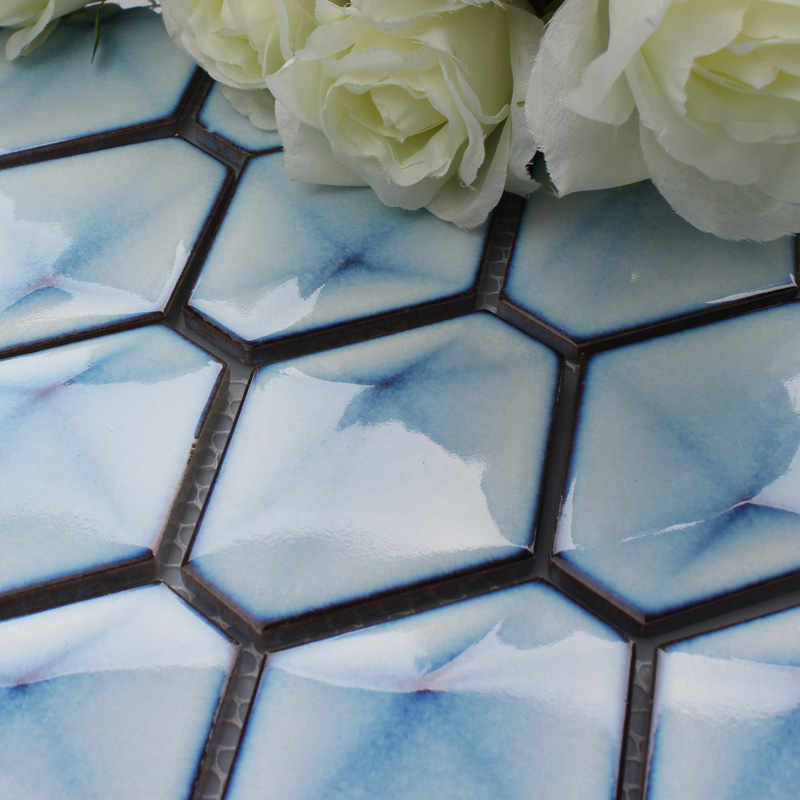 Blue Porcelain Tile Hexagon Glazed Mosaic Kitchen And