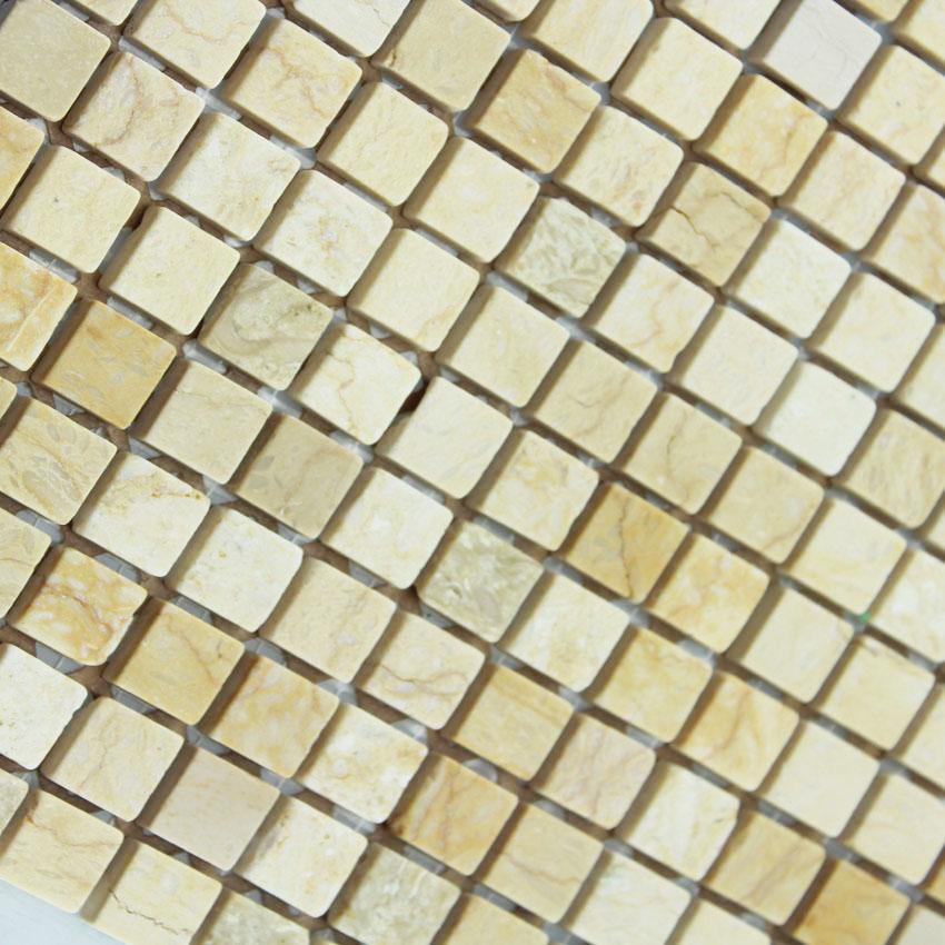 Stone Mosaic Tile Square Yellow Patterns Washroom Wall