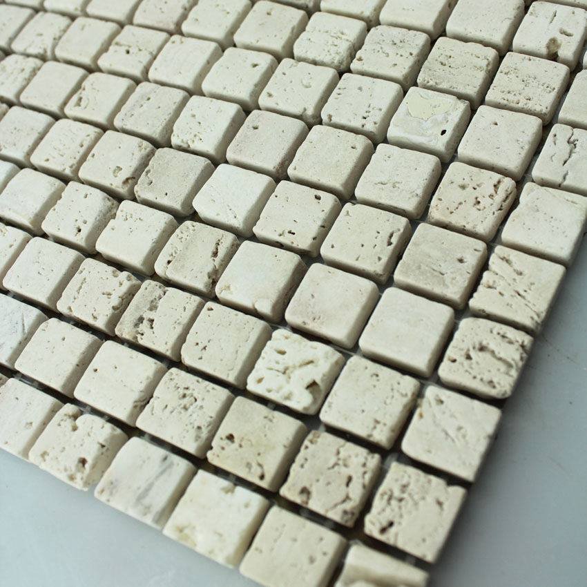 Stone Mosaic Tile Square Patterns Washroom Wall Marble