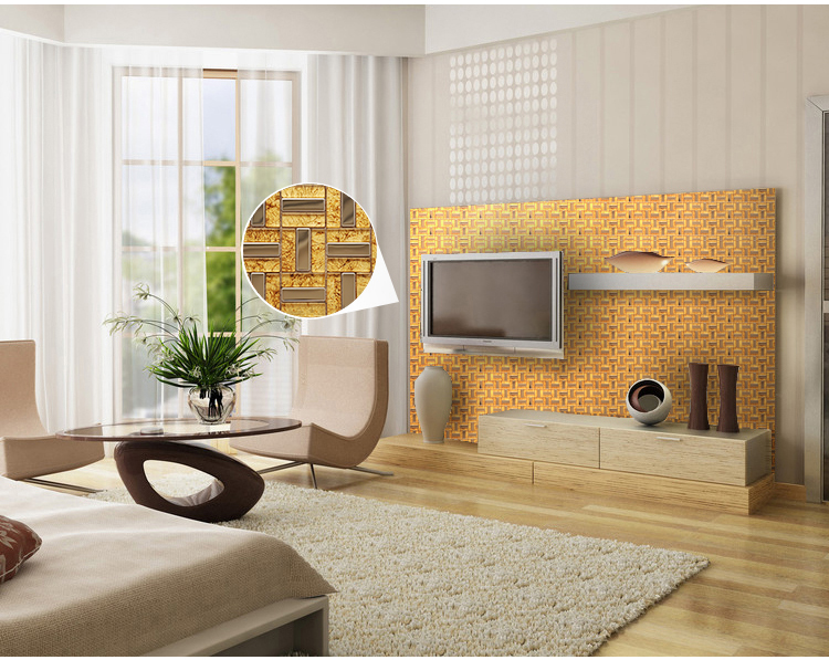 304 stainless steel metal glass mosaic tiles living-room backsplash stickers - c37