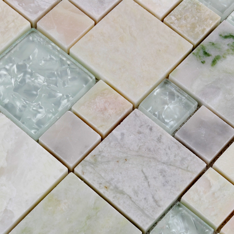 wholesale grey stone with white crystal mosaic tile sheet square