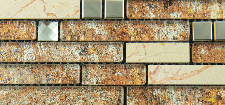 metal and glass diamond stainless steel backsplash wall tile