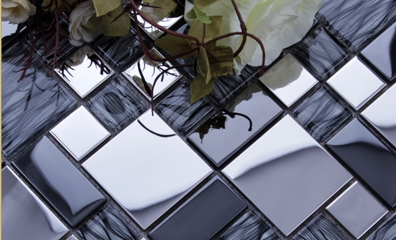 silver304 stainless steel metal crystal glass tiles sheet