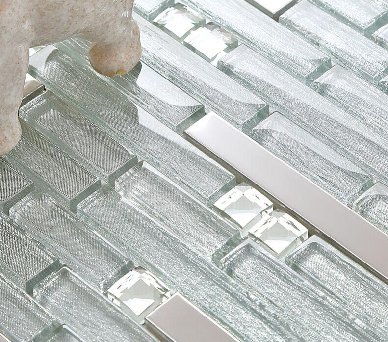 Metal Backsplash Tiles Silver Stainless Steel Amp Glass