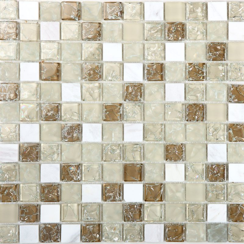 Cream Stone And Glass Mosaic Sheets Kitchen Backsplash Cheap Crackle Glass  Tiles Bathroom Wall Decor M313