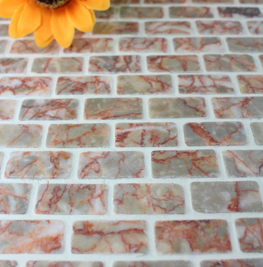 Stone Mosaic Tile Red Subway Pattern Bathroom Wall Marble