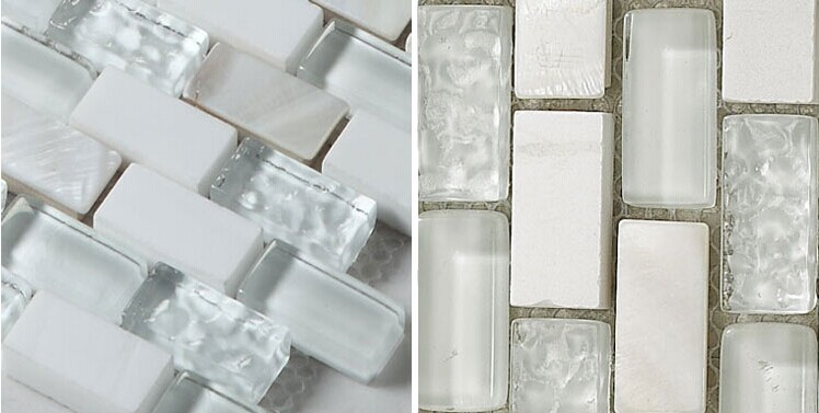 Cream Stone And Glass Mosaic Tile Subway Tile With Shell Backsplash Wall Mosaics Mother Of Pearl