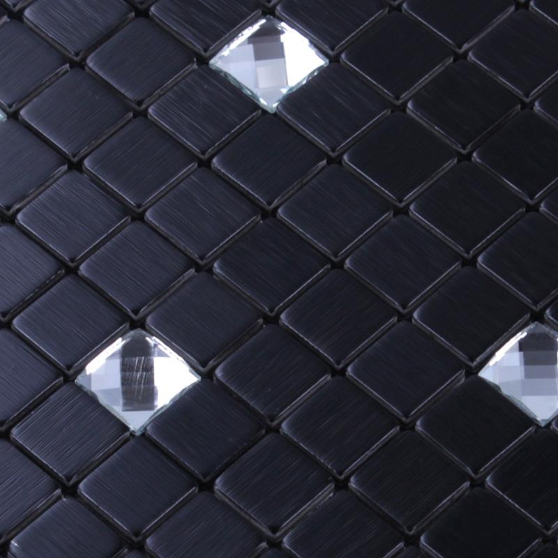 Wholesale Metallic Backsplash Tiles Gun 304 Stainless Steel Sheet Metal And Gold Crystal Glass Blend Mosaic