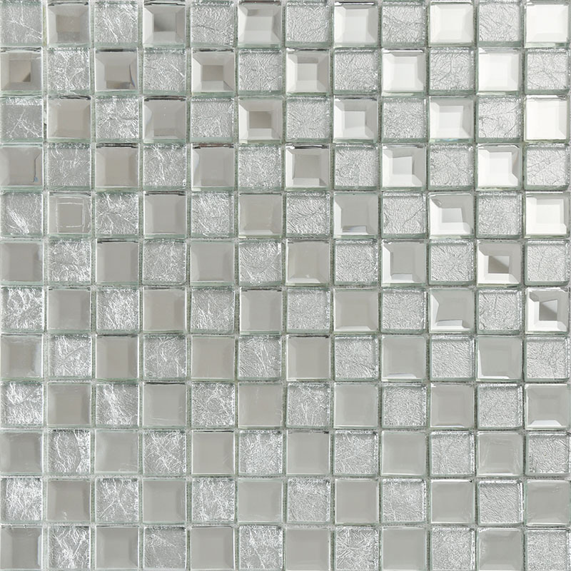Silver Mirror Glass Tile Crystal Tile Square Wall Backsplashes Tiles  Bathroom Shower Tile Washroom Wall KLGT4017 ...