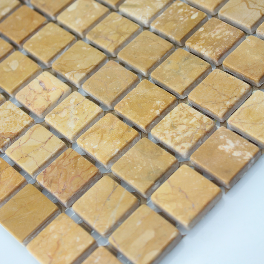 Stone Mosaic Tile Square Gold Patterns Bathroom Wall Marble Kitchen Backsplash Floor Tiles Sgs95 15b