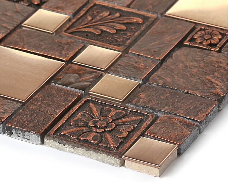 Wholesale Porcelain Tiles Square Mosaic Tile Design Metal Tile Flooring Kitchen Backsplashes Bfcm08