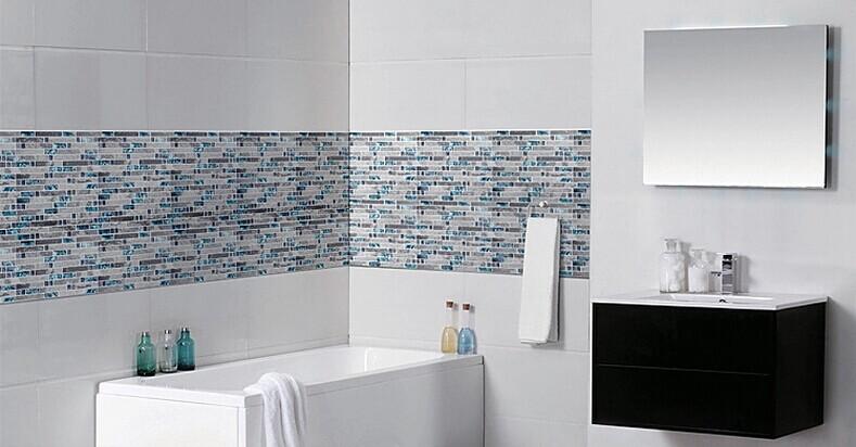 Gray Marble Backsplash Tiles Sea Glass Blue Wave Patterns