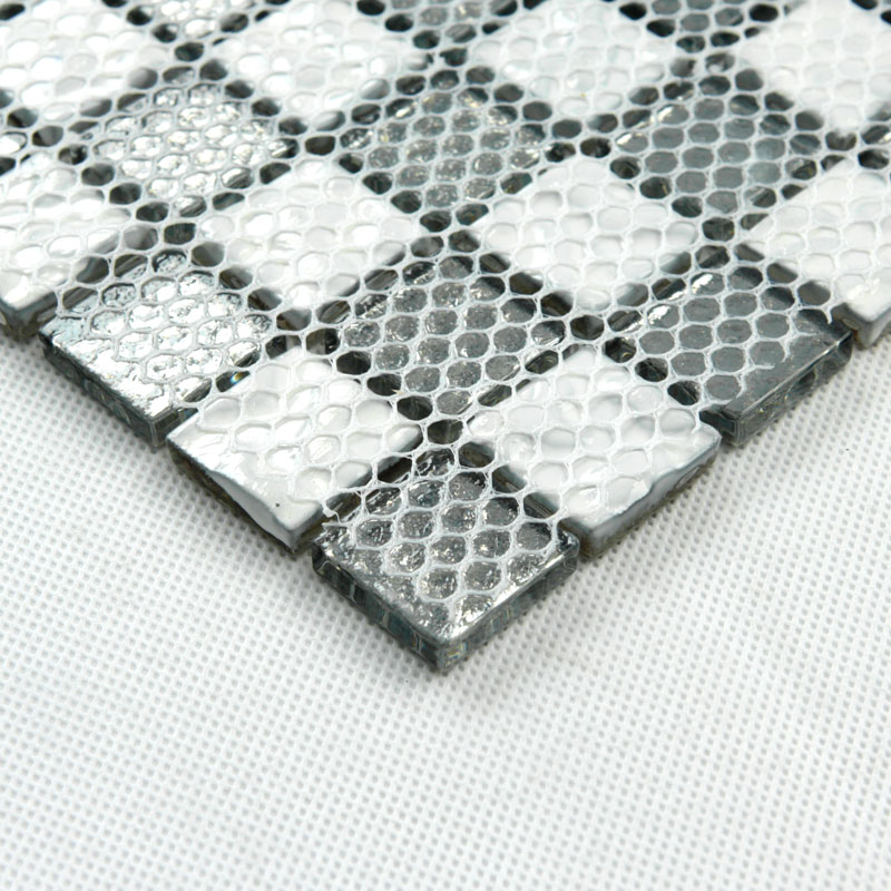 back of glass mosaic tile design mesh mounted
