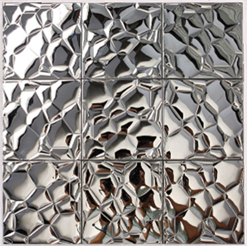 Metallic Mosaic Tile Silver Square Aluinum Metal Wall