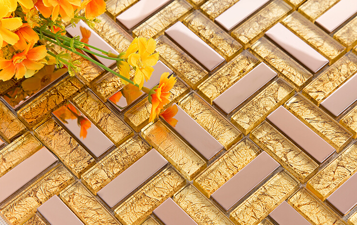 gold crystal glass tile mosaic - c37
