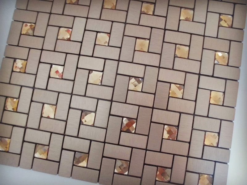Adhesive Mosaic Tile Bronze Brushed Aluminum Metal Gl Diamond