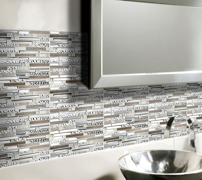 Silver stainless steel and glass tile textured marble for Cuisine 3d bricoman