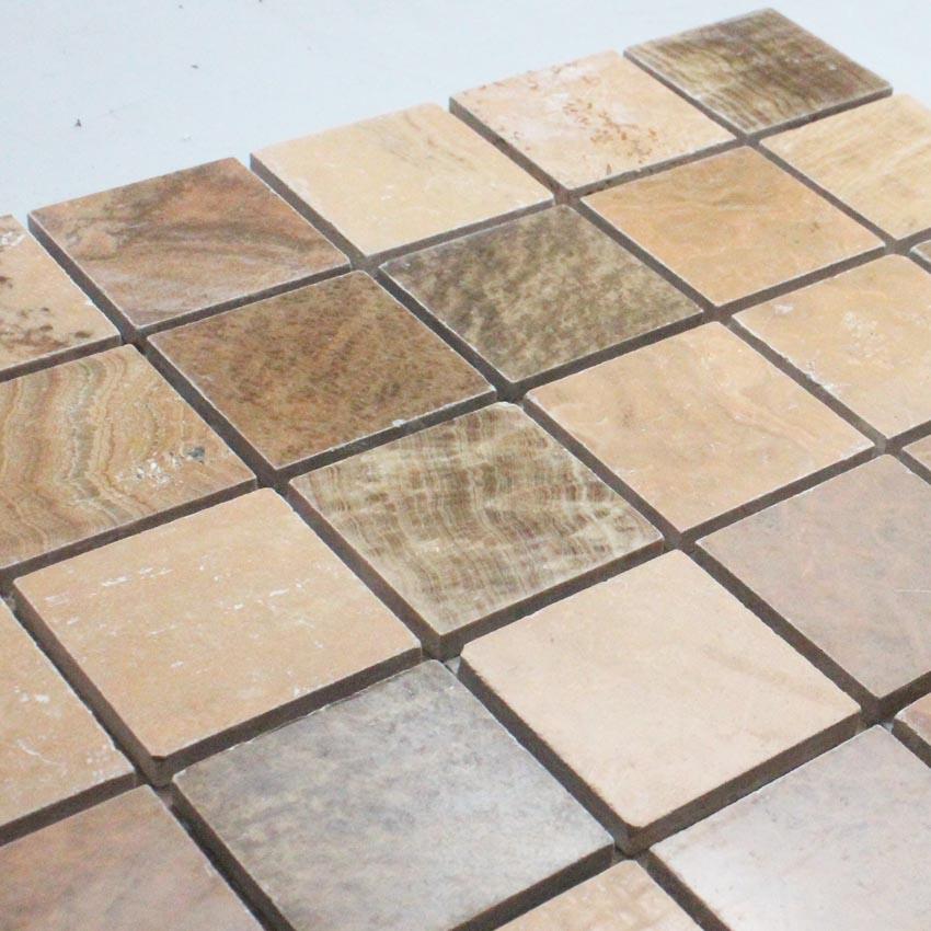 Natural Stone Mosaic Tile Square Brown Patterns Bathroom Wall
