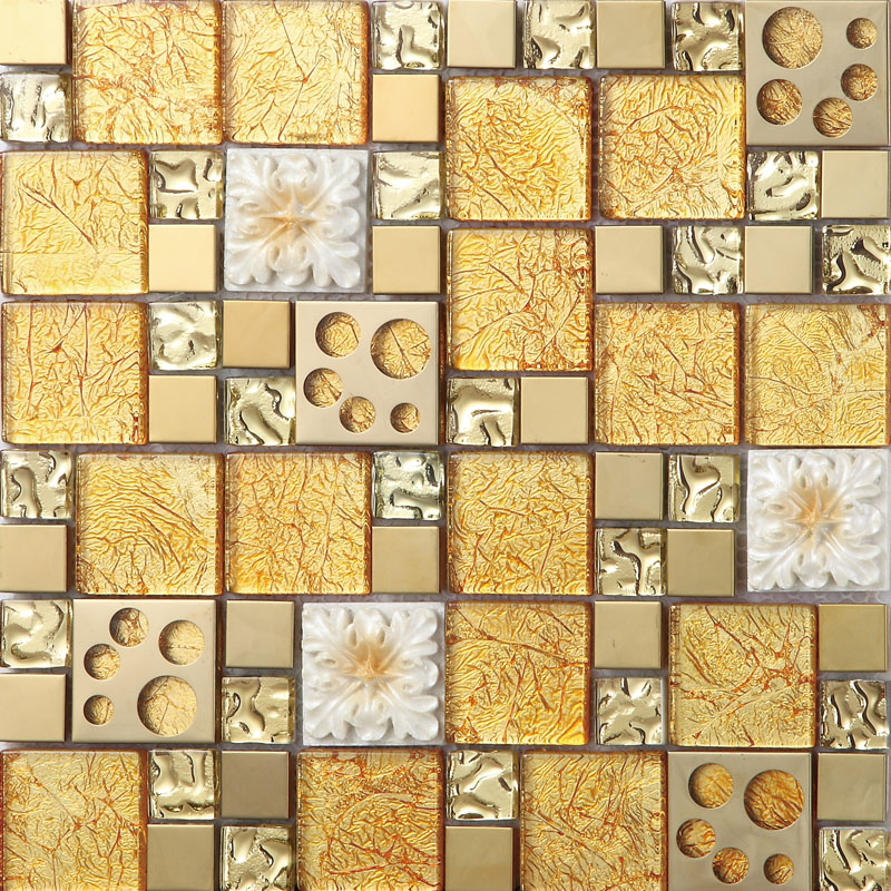 Gold crystal glass mosaice tile 304 stainless steel free for Mosaic home decor