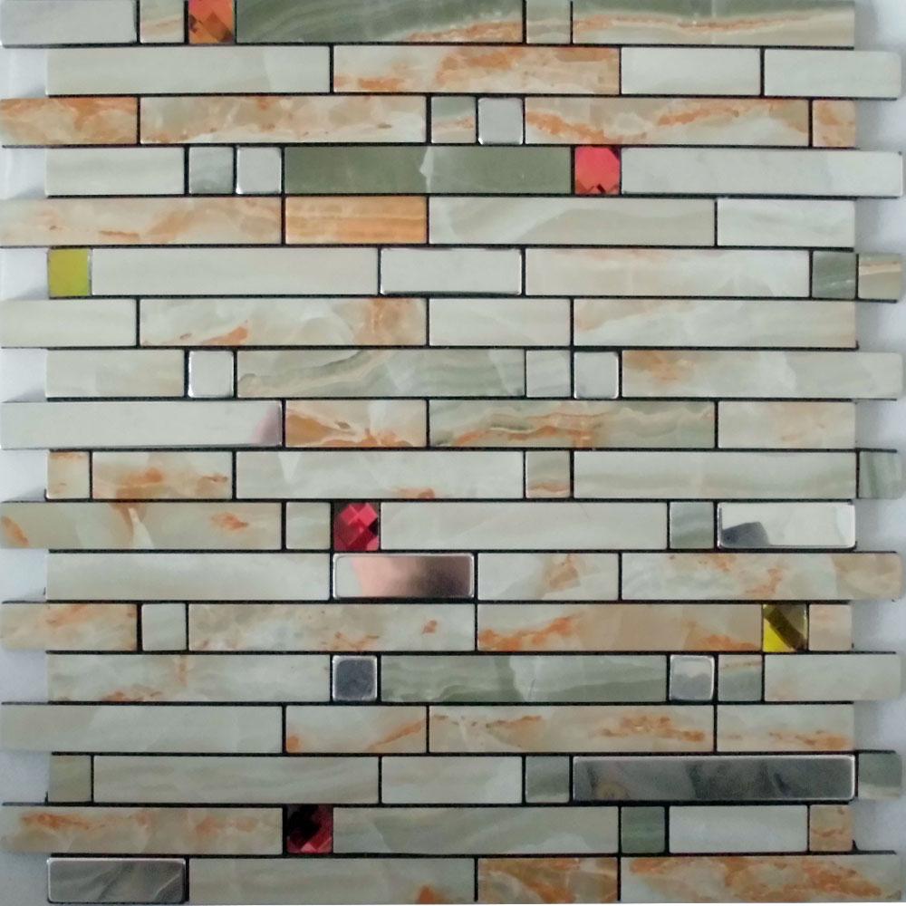adhesive mosaic tiles strip silver aluminum kitchen backsplash