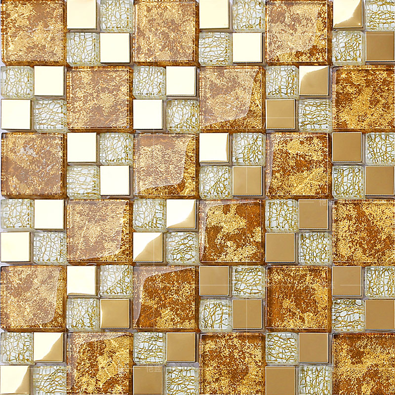 Crystal Gl Mosaic Gold Metal Tiles Stainless Steel Backsplash Design Wall Tile Hall Backsplashes