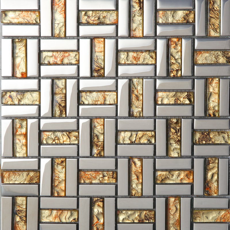 Crystal Mosaic Tile Sheets Silver Plated Glass Bathroom