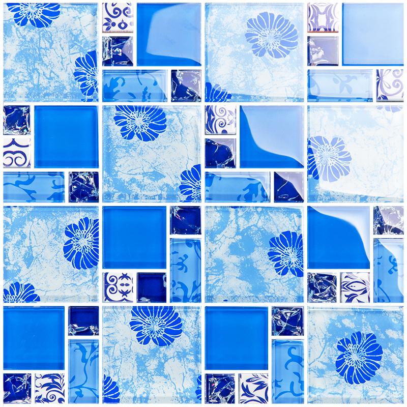 blue glass mosaic tiles crackle tile hand paint tile kitchen wall ...
