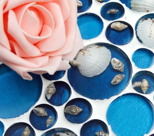 crystal pebble glass tile plated mosaic shell wall tiles