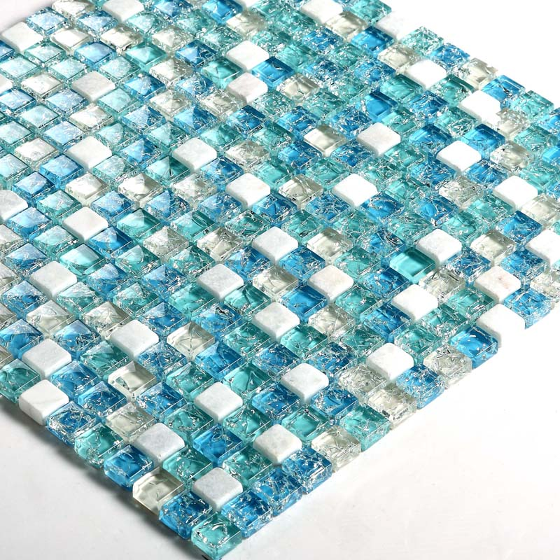 Ceram Stone and Glass Mosaic Tile Ice-Crack Glass Blue ...