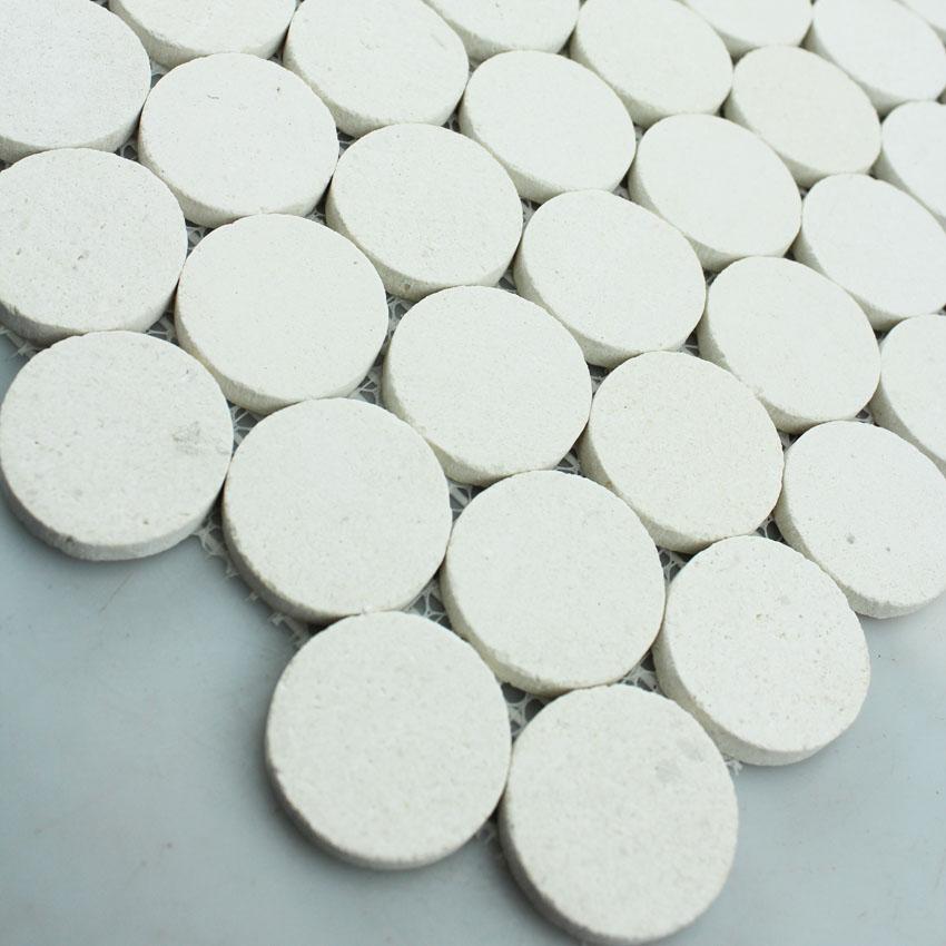 Stone Mosaic Tile Circle Pattern Washroom Wall Penny Round