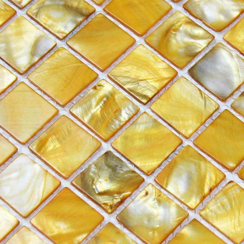 Very best shell tiles 100% yellow seashell mosaic mother of pearl tiles  NY36