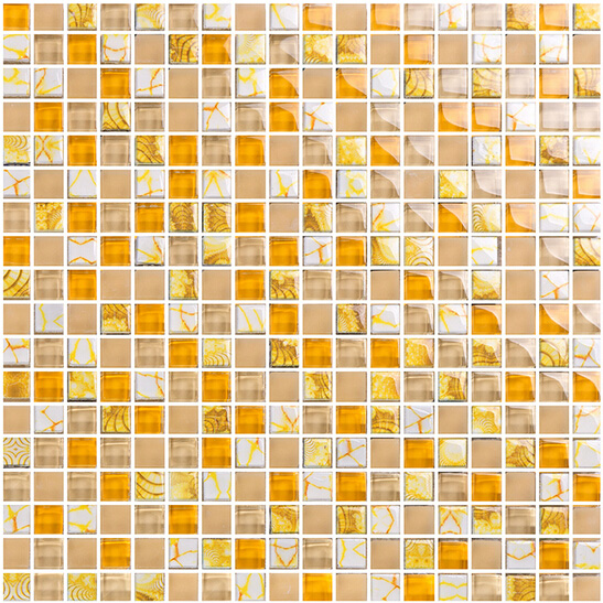 Yellow glass mosaic tile forsted glass hand painted art for Yellow mosaic bathroom tiles
