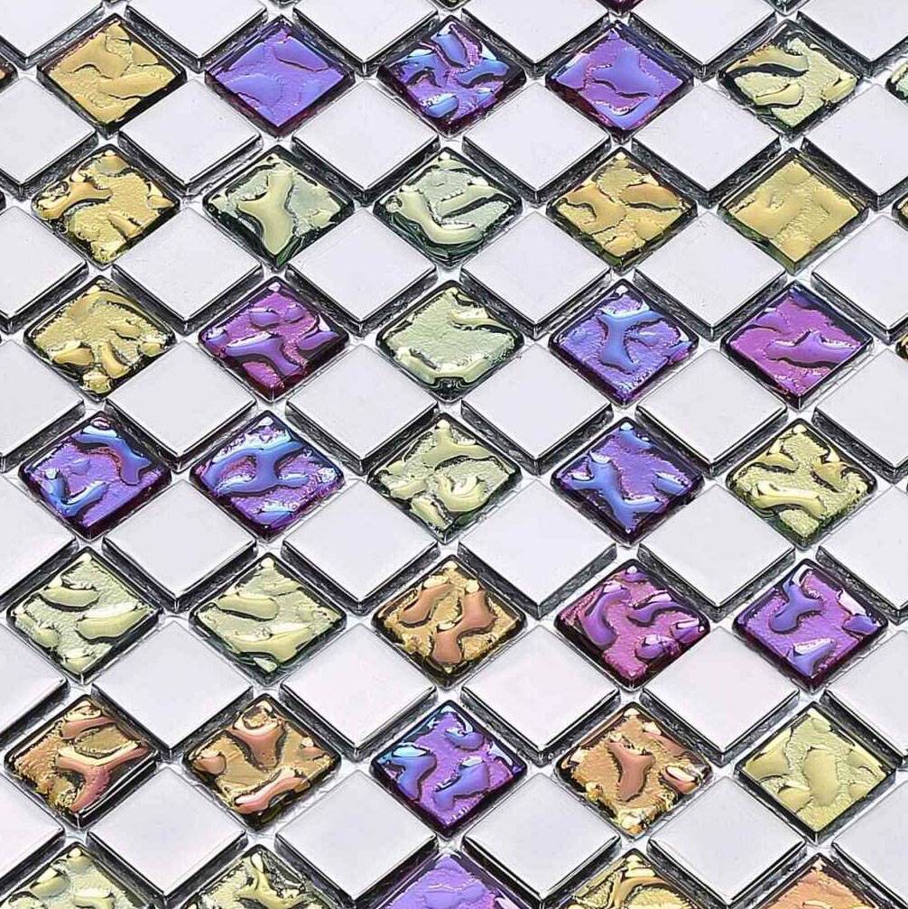 Multi Colored Crystal Mosaic Silver Coated Glass Tile