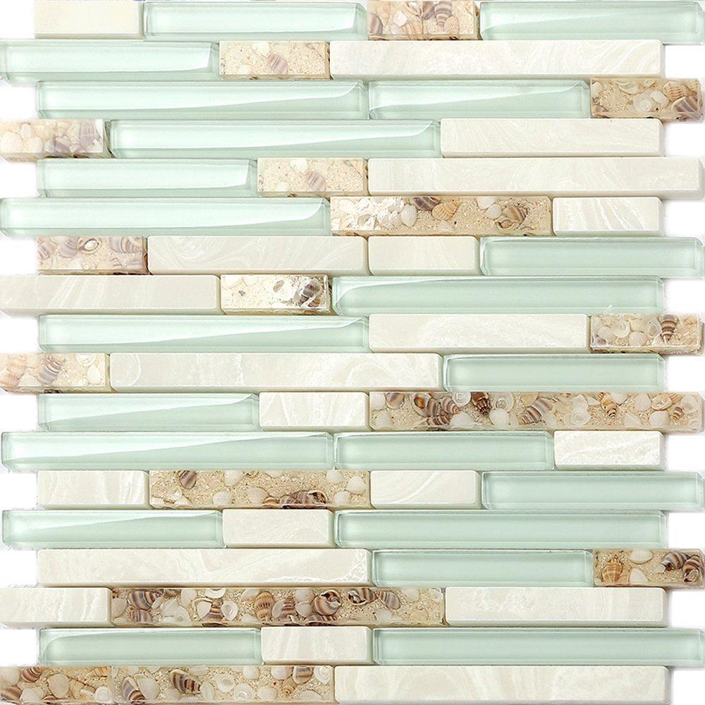 - Sea Green Glass Coastal Kitchen Backsplash Beach House Style Bathroom