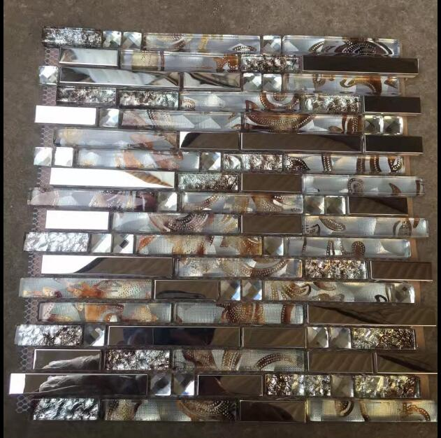Sample Orange Beige Stainless Steel Glass Mosaic Tile: Wholesale Crystal Glass Mosaic Tiles Stainless Steel