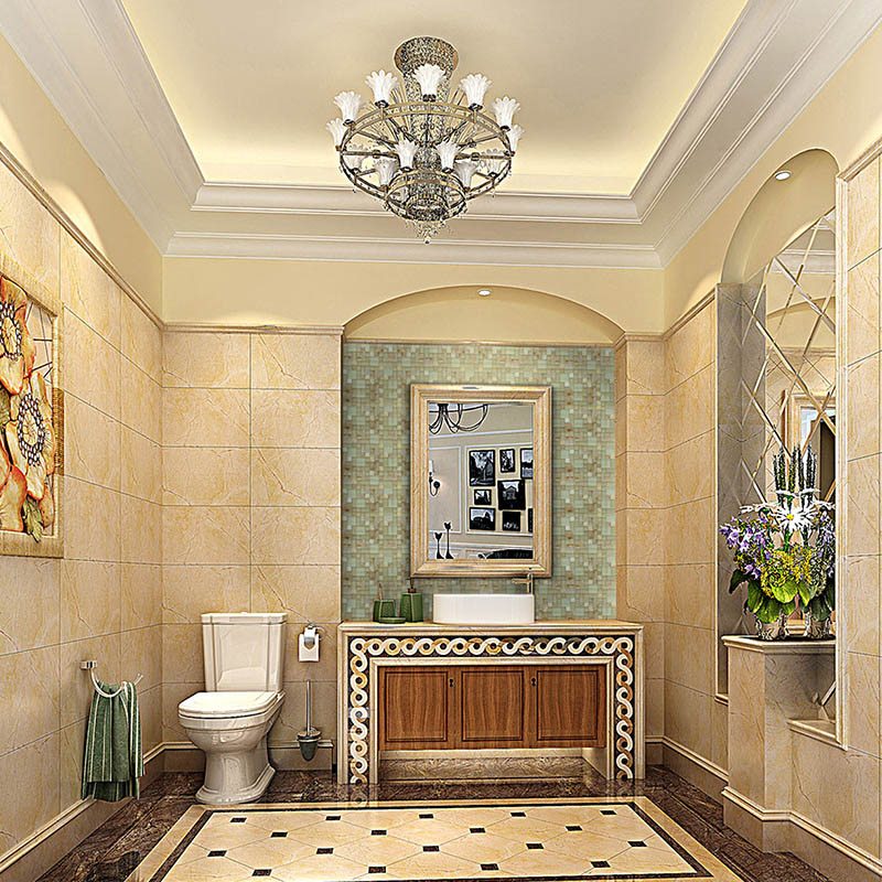 Stone And Glass Mosaic Tile Square Colors Patterns Bathroom Wall