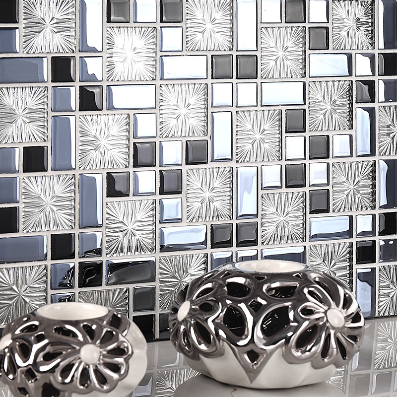glass mosaic tile plated crystal backsplash dining room wall tiles