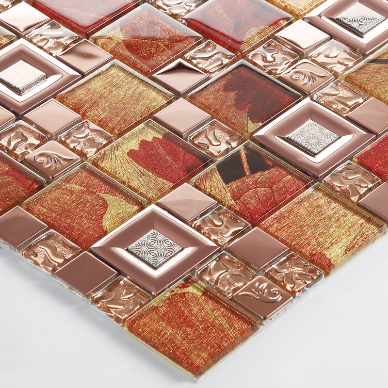 gold crystal glass tile mosaic