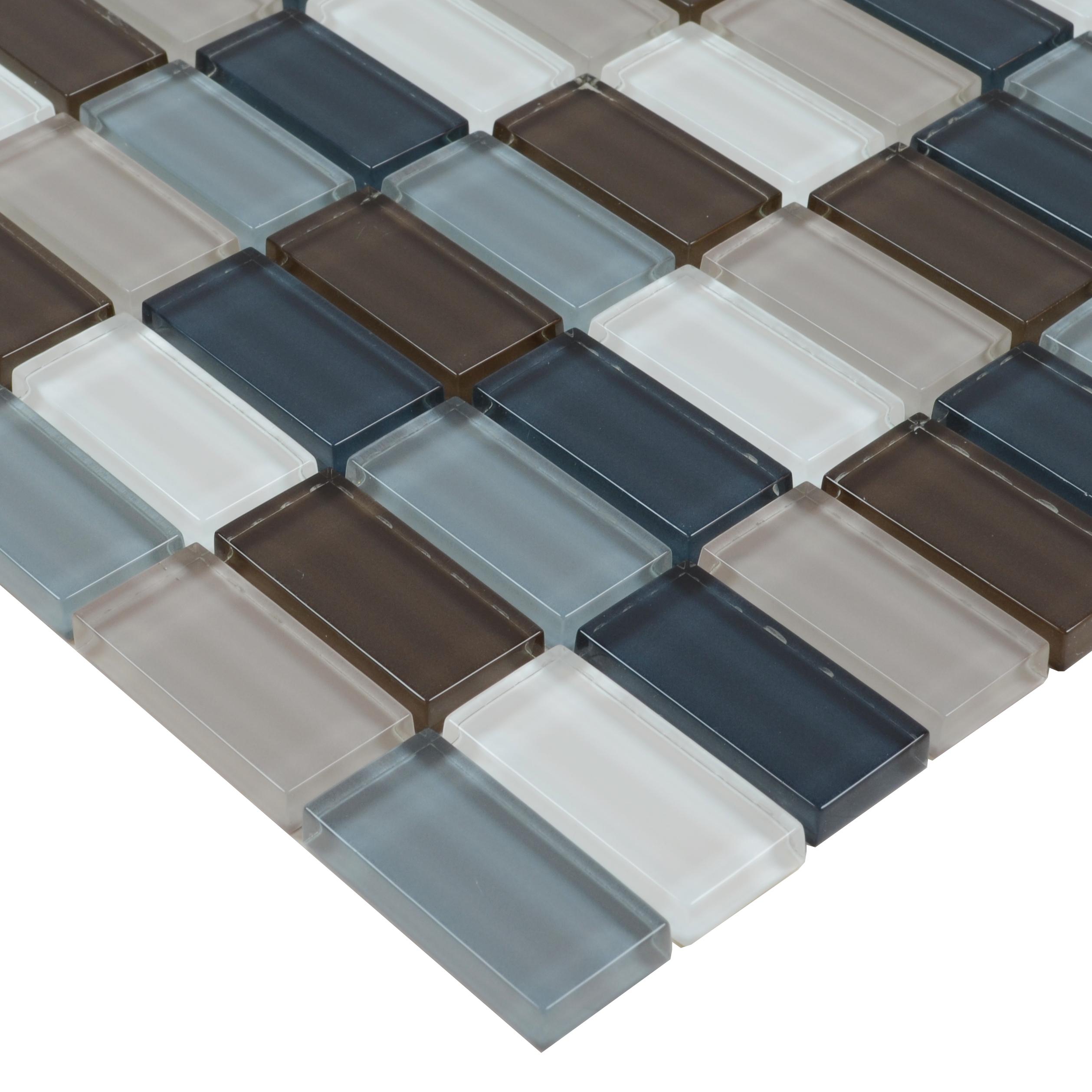 Backsplash Tile Sheets: Crystal Glass Tile Uniform Brack Kitchen Backsplash Tiles