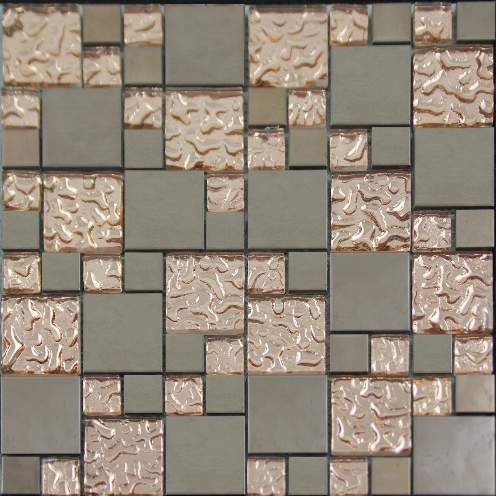 Copper glass and porcelain square mosaic tile designs for Designs of tiles for kitchen