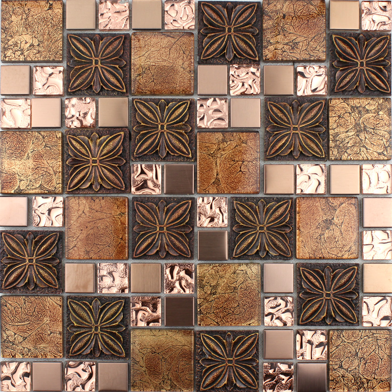 Brown Tile Flooring Kitchen: Glass Tile Brown Glass Mosaic Tiles Crystal Glass Tile