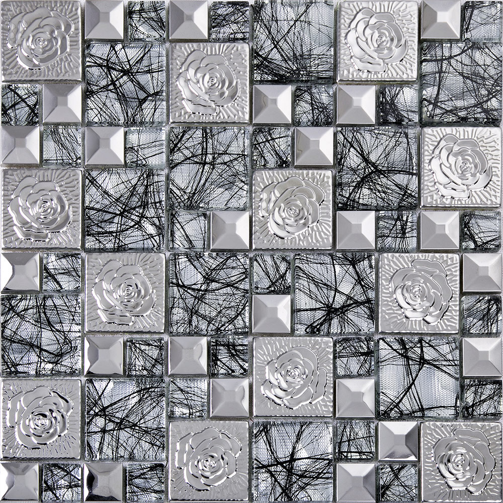 silver 304 stainless steel mosaic tile glass art mirror wall