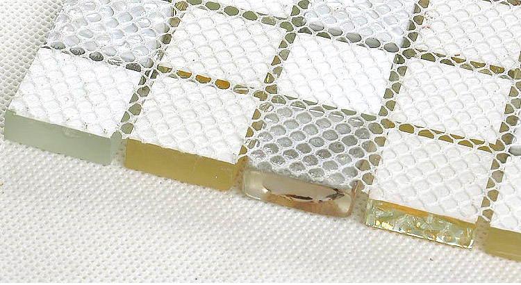 back of crystal crackle glass tile vitreous mosaic shell plated wall mesh mounted tiles - s169