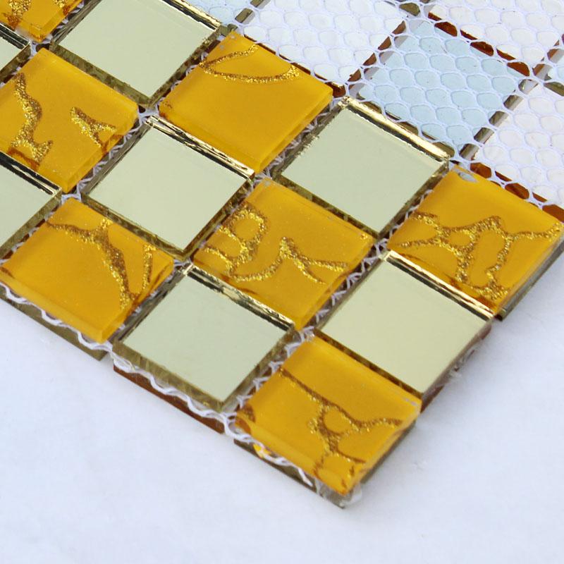 Crystal Glass Mosaic Gold Tiles Washroom Backsplash Design Bathroom ...