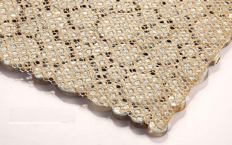 back of crystal pebble glass tile vitreous mosaic shell wall mesh mounted tiles - hc132