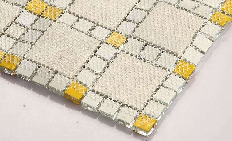 back of glass mosaic tile doamond design mesh mounted - 611