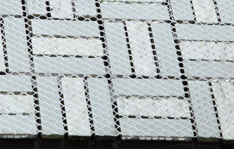 back of metal glass mosaic tile mesh mounted - d197