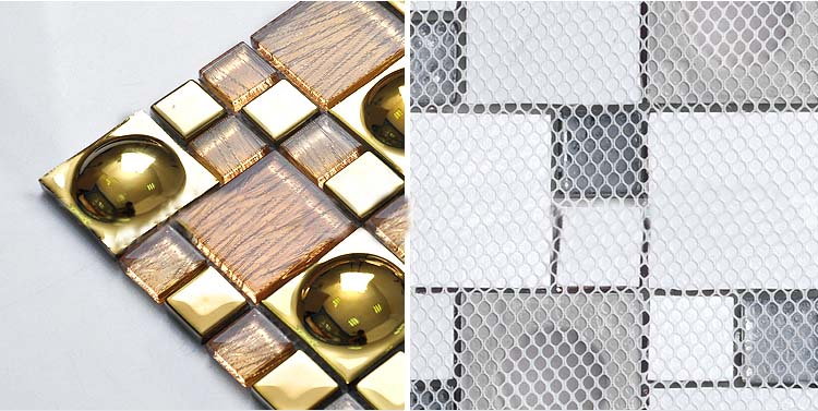 back of porcelain mosaic tile details crystal glass plated mirror mesh mounted tiles - yg82